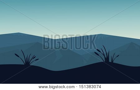 Mountain and hill scenery of silhouette vector art