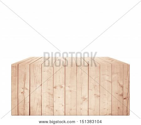 Rectangular light brown wooden box in vertical position. Isolated on white background