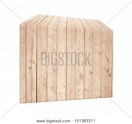 Asymmetrical light brown wooden box in vertical position. Isolated on white background