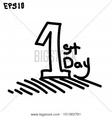 first day in your life hand-drawn one and sign the first day of life vector illustration graphic black white