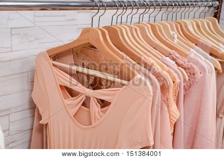 female dress with coat isolated on hanging in store