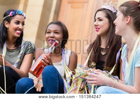 Girls having champagne celebrating together on bachelorette party
