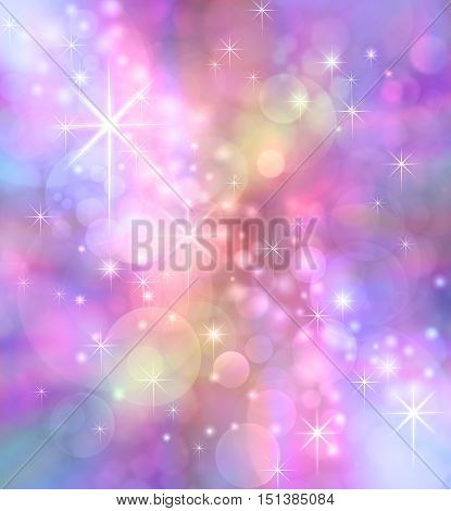 Starry Sparkling Bokeh background -   Party theme multicolored feminine pinks purple bokeh effect  with sparkles