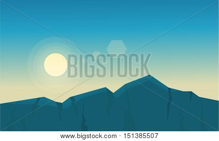 At sunrise mountain scenery of silhouette vector fllat