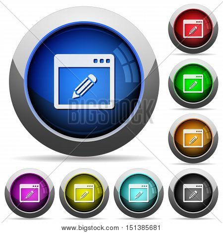 Set of round glossy application edit buttons. Arranged layer structure.