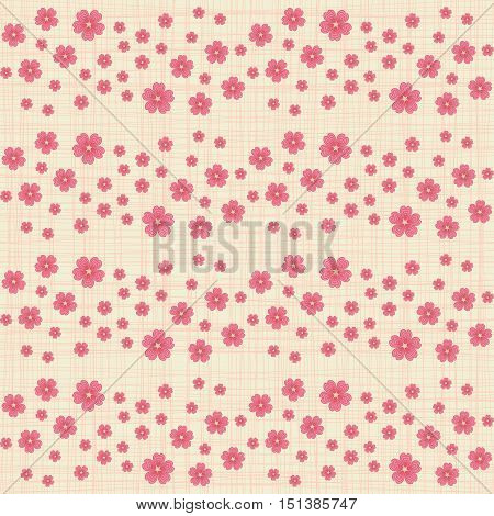 Cute seamless pattern with many repeating cherry flowers on the canvas background. Vector illustration eps