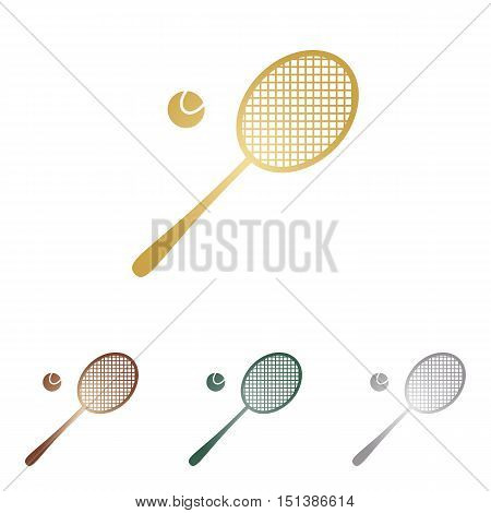 Tennis Racquet Sign. Metal Icons On White Backgound.