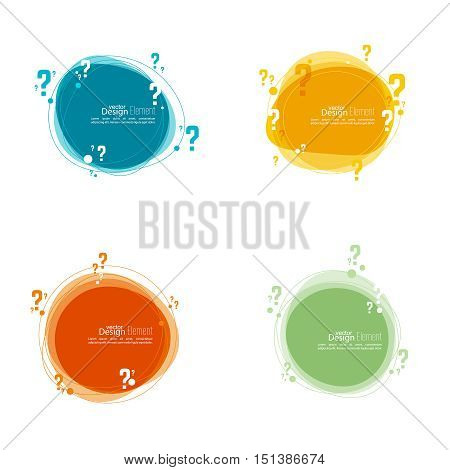 Question mark icon. Help symbol. FAQ sign on background. vector.Set Banner roundish form