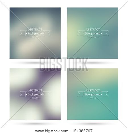 Set vector colorful abstract backgrounds blurred. For mobile app, book cover, booklet, poster, web sites, annual reports. blue, indigo, turquoise, yellow green purple mauve violet magenta