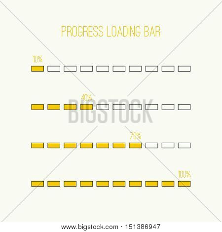 Set of vector downloaders. progress bar and loading icon. ui preloader web elements. Percent loading segments. Vector loading percentage. Linear loader bar