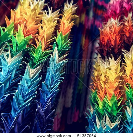 Thousand Origami Cranes at Japanese buddhist temple. Close up. 2016