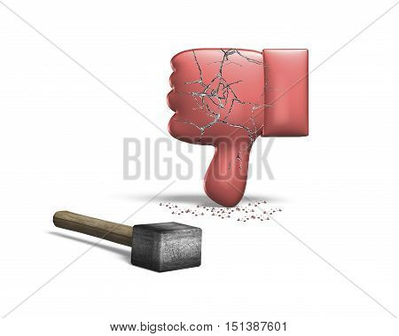 Red Thumb Down With Hammer, 3D Rendering