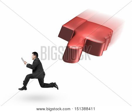 Flying 3D Thumb Down Chasing Man Holding Tablet