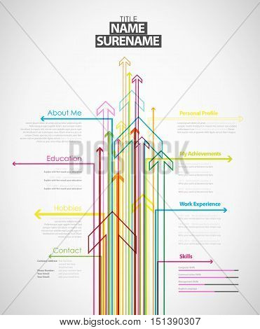 Creative cv template with colorful arrows - light version.