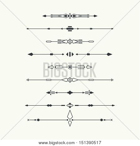 Dividers vector set isolated. Geometric horizontal vintage line border and text design element.  Collection of decorative page rules. Separation select text. Minimalism