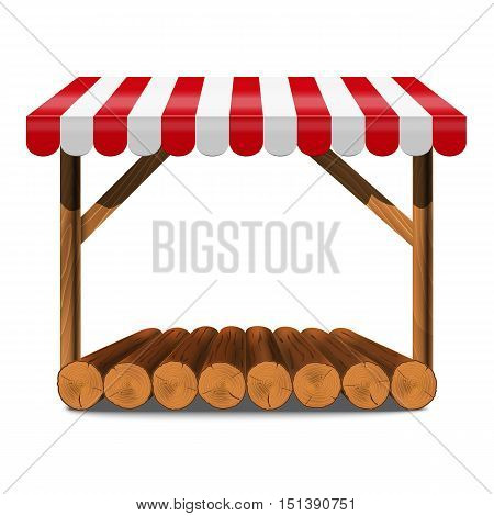 Street stall with red awning and wooden log rack and counter. Stand for sale. Vector  illustration.