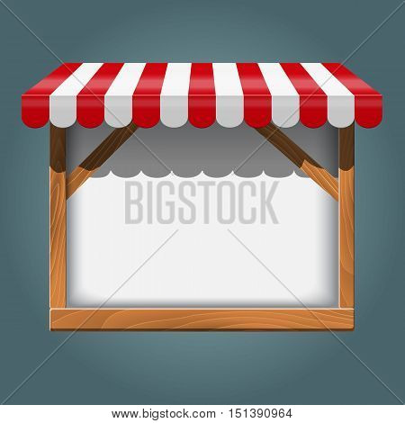 Stand for sale. white wooden rack, frame with red awning Vector illustration.