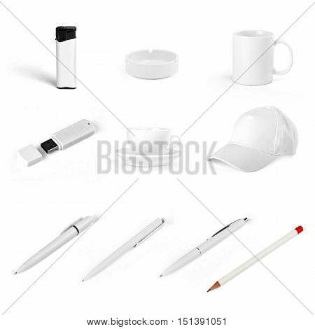 Set of white elements for corporate identity design