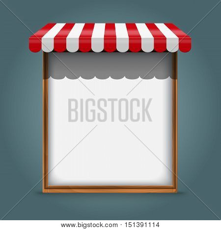 Stand for sale. white wooden frame with red awning Vector illustration.