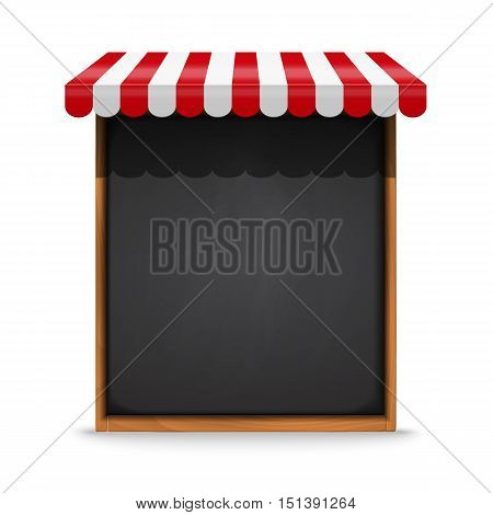 Stand for sale. Black chalkboard frame with red awning Vector illustration.