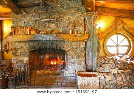 Matamata, New Zealand - January 15, 2015: Green Dragon Tavern Interior In Hobbiton Village.