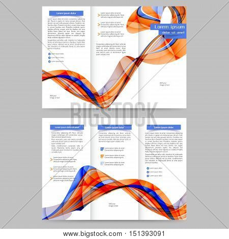 Color tri fold brochure design with abstract lines and waves