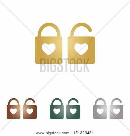 Lock Sign With Heart Shape. A Simple Silhouette Of The Lock. Shape Of A Heart. Metal Icons On White