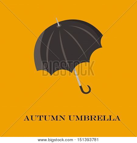 Umbrella Closeup. Black  Icon.   Isolated On Background.  In Cartoon And Flat Style