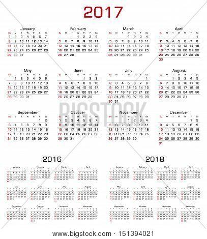 Simple Calendar 2017 2016 2018. Week starts from Sunday. Vector Illustration.