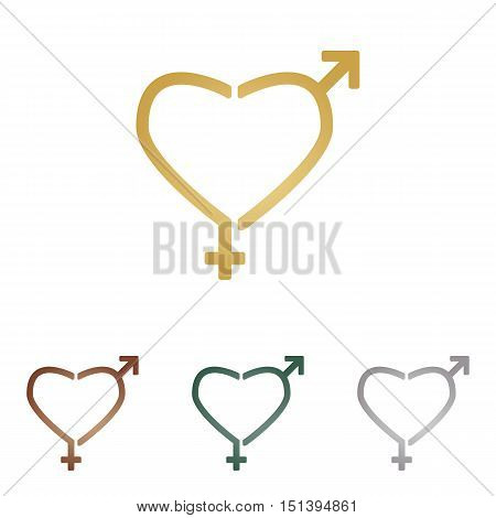 Gender Signs In Heart Shape. Metal Icons On White Backgound.