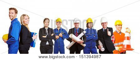 Successful builders team with ingenieurs and workers