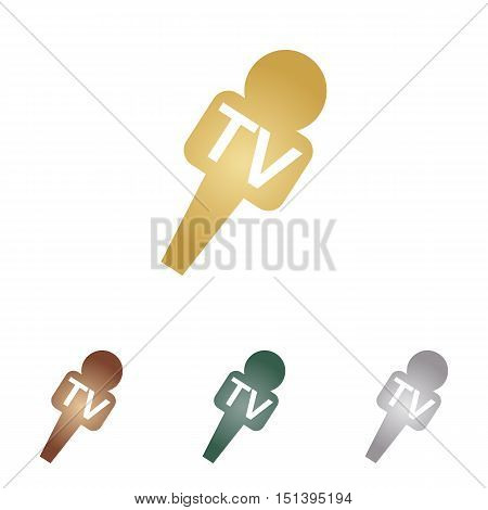 Tv Microphone Sign Illustration. Metal Icons On White Backgound.