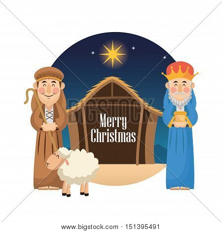 Shepherd and wise man cartoon icon. Holy family and merry christmas season theme. Colorful design. Vector illustration