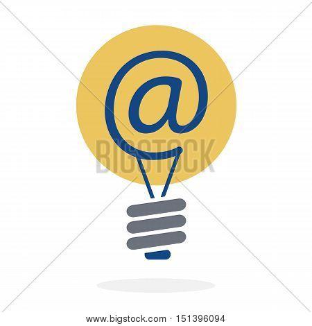 Symbol at in lightbulb as new idea sharing via e-mail concept vector design