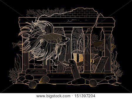 Graphic aquarium fish with architectural sculpture drawn in line art style. Isolated under water scenery on the black background in golden colors. Ancient Roman architecture.