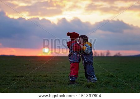 Two Adorable Children, Boy Brothers, Watching Beautiful Splendid Sunset