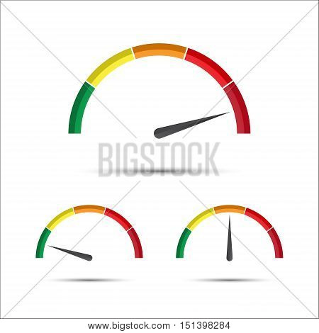 Set of simple vector tachometer with indicator in green yellow and red part speedometer icon performance measurement symbol