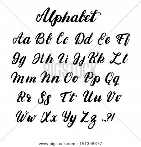 Hand written lowercase and uppercase calligraphy alphabet. Modern brushed lettering. Black letters isolated on white background. Vector illustration.