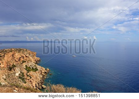 Beautiful view from the Cape Sounion on the Aegean sea Attica Greece
