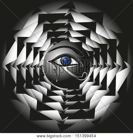 Sun God Ra symbol Abstract design, style myth ornament geometry, eye god black and white drawing a triangle circle sphere eyebrow pupil logo or background eps10 vector illustration Stock