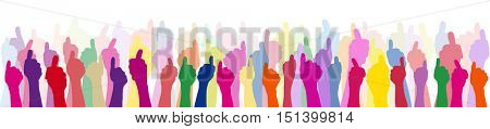 Many people with thumbs up in different colors as teamwork and friendship concept