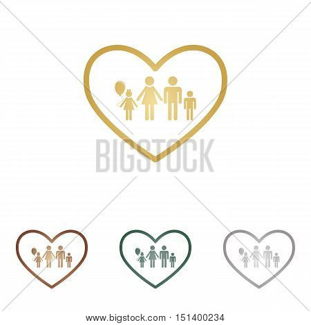 Family Sign Illustration In Heart Shape. Metal Icons On White Backgound.