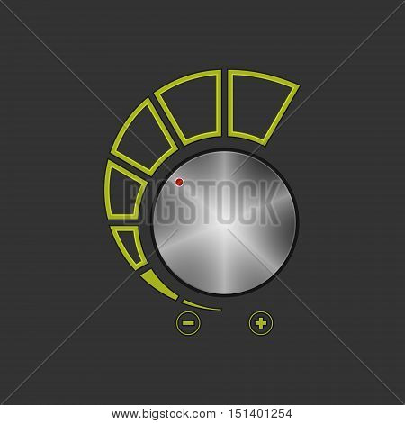 Volume Control Isolated on Gray Background, Power Control, Vector Illustration