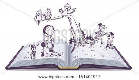 Open book illustration tale of Pinocchio. Vector cartoon