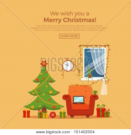 Christmas room interior in colorful cartoon flat style. Christmas tree, gifts, decoration, armchair, window,  laptop, lights.   Cozy noel xmas night celebration interior vector illustration.