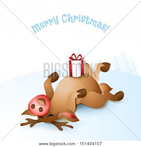 Happy Christmas reindeer lying belly up with gift box on blue landscape background. Cartoon vector illustration