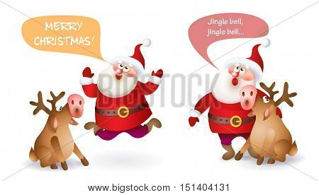 Set of Christmas Santa Claus with reindeer. Vector illustration Santa Claus set for your design. Old men characters. Christmas and New Year theme