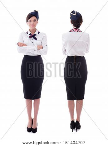 Front And Back View Of Young Beautiful Stewardess Isolated On White