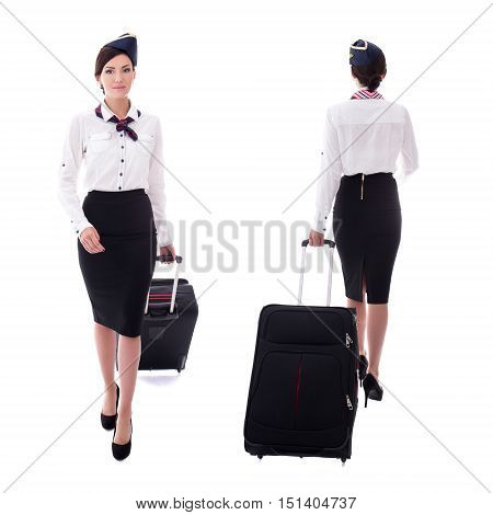 Front And Back View Of Young Stewardess Walking With Suitcase Isolated On White