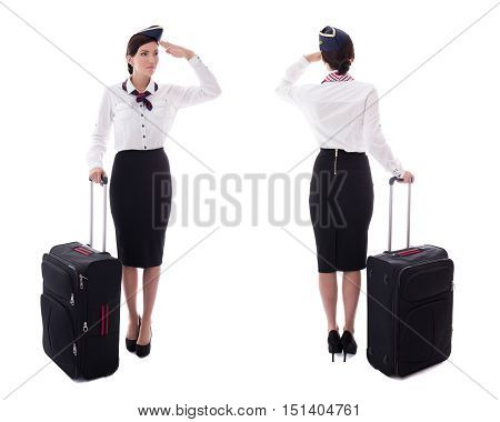 Front And Back View Of Stewardess Saluting With Suitcase Isolated On White